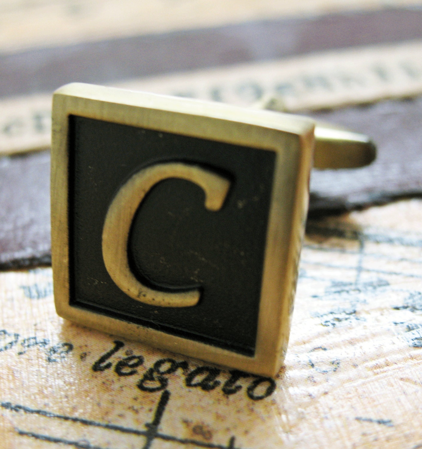 c initial cufflinks antique brass square 3 d letter vintage english lettering cuff links groom
