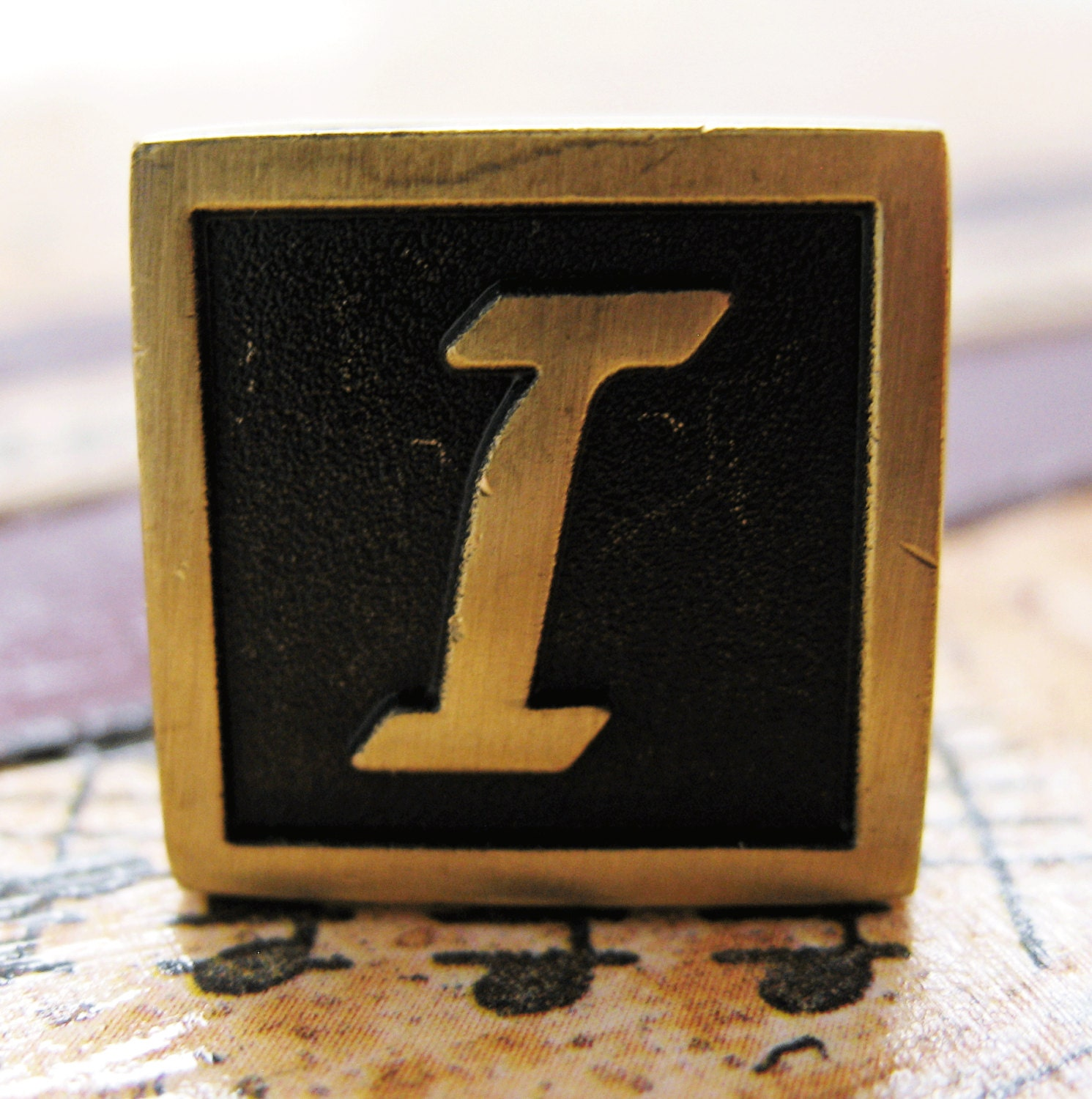 i initial cufflinks antique brass square 3 d letter i vintage english lettering cuff links
