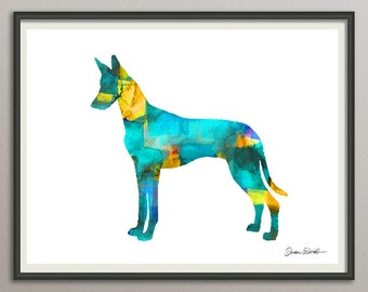 pharaoh hound art print watercolor print  silhouette painting print poster wall art decor drawing, dog wall art poster