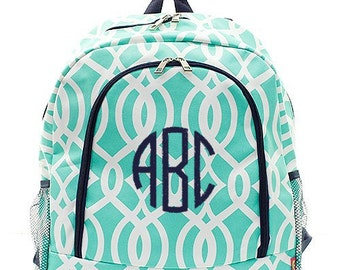 Personalized Backpack Mint Green and Navy Blue Trellis Vine Print Book Bag Monogram Name Bookbag Custom Embroidered