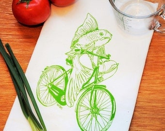 Tea Towel -  100% Cotton Flour Sack Kitchen Towel - Kitchen Dish Towel - Printed Towels Green Fish On Vintage Bicycle