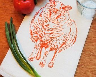 Kitchen Tea Towel - Eco Friendly - Screen Printed Cotton - Flour Sack Towel - Orange Sheep Kitchen Towel -Wedding Shower Gift