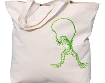 Large Canvas Beach Tote - Heavy Weight Screen Printed Organic Cotton Bag - Washable - 10 Oz Canvas Tote Bag - Frog Skipping Rope