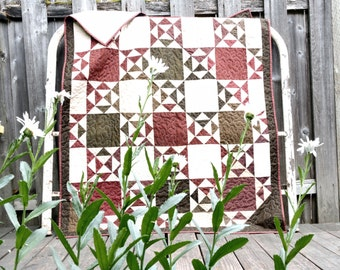 """Lap Sized Quilt in Maroon/Burgundy and Brownish-Green     49"""" x 63"""""""