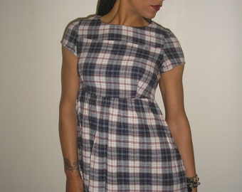 Vtg 90's CLUELESS plaid schoolgirl BABYDOLL mini dress XS/S