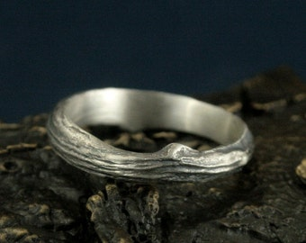 Branch Band--Wide Half Round Bark Textured Men's Wedding Band--Men's Silver Twig Band--Substantial Branch Ring--Bark Band--Tree Ring
