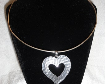 Silver Choker with Silver Heart Pendant