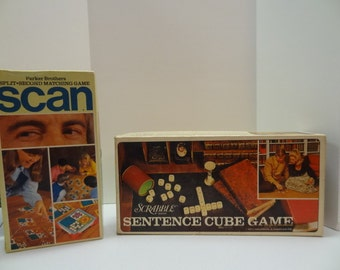 Set of Two Retro Games - Scan/Split Second Matching game & Scrabble Sentence Cube game-SALE!
