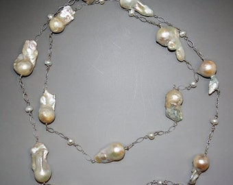 Baroque Pearl And Sterling Silver Handmade Long Statement Necklace