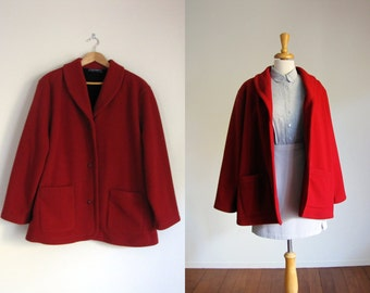 vintage red swing coat / cherry trapeze tent pea coat jacket