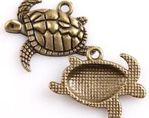 4 Bronze Sea Turtle Charms Swimming Turtles Tortoise Ocean Creature 4320