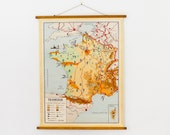 Vintage Map of France, Colorful map with little images, Dutch map of France