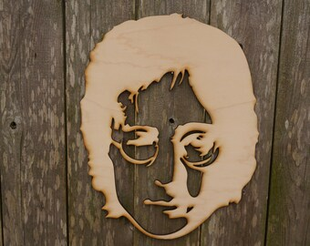 John Lennon silhouette wood cut wall hanging/gift/cutout/laser/door/decor/unfinished/wood/laser