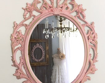 ORNATE OVAL MIRROR, Large Wall Hanging Mirror, Soft Pink Baroque Mirror, Shabby Cottage Chic Picture Frame Bathroom Mirror,  Nursery Mirror