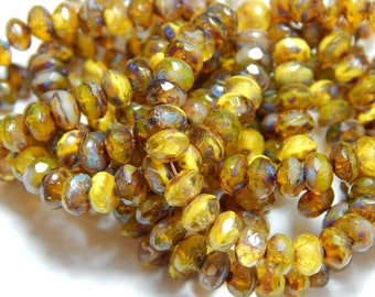 5x3mm Yellow Picasso Czech Beads, Yellow Beads, Earthy Beads, Rustic Beads,Yellow Rondelle Beads, Jewelry Supplies, Beaded Jewelry T-090A