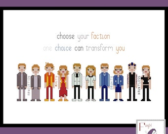 Divergent inspired Factions cross stitch PDF Pattern - no fraction stitches - INSTANT Download
