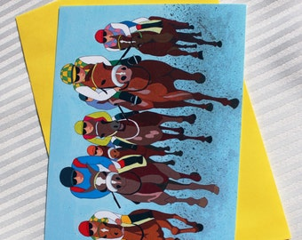 The Horse Race greeting card