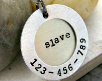 Slave Registry Number Tag, 2 layers, aluminum and nickel silver, bdsm collar tag, slave collar tag, slave tag, subby tag, submissive