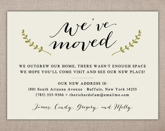 Moving Announcement - Printable Card