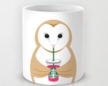 Personalized mug cup designed PinkMugNY - I love Starbucks - Barn Owl