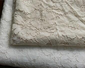 "Rose lace fabric White wedding Lace / beige 59"" wide white Wedding Lace Fabric,corded rose  lace fabric-LSMW0055"
