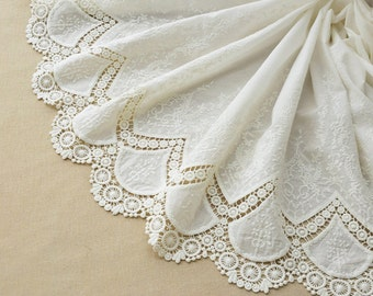 hollow up lace fabric,white embroidery wedding dress lace fabric,DIY skirt craft-LSMEF002