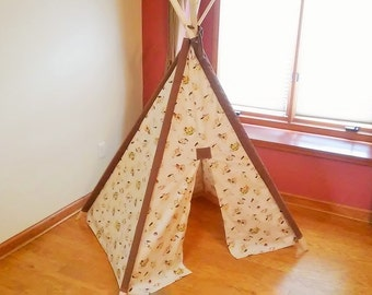 Children's Kitten Print Play Teepee Tent Ready to Ship