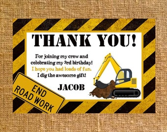 Customized Construction Birthday Thank You - Digital File
