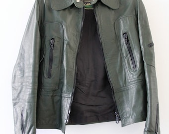 Vintage jacket leather green made in italy 1970s