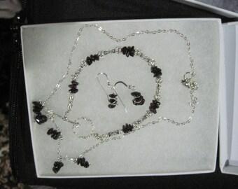 Sterling Silver Precious or Semi-Precious Chip Necklace