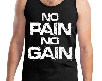 New Men's No Pain No GainBlack Tank Top All size S-3XL