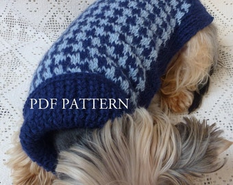 Turtleneck Dog Sweater in Hound's-tooth Pattern