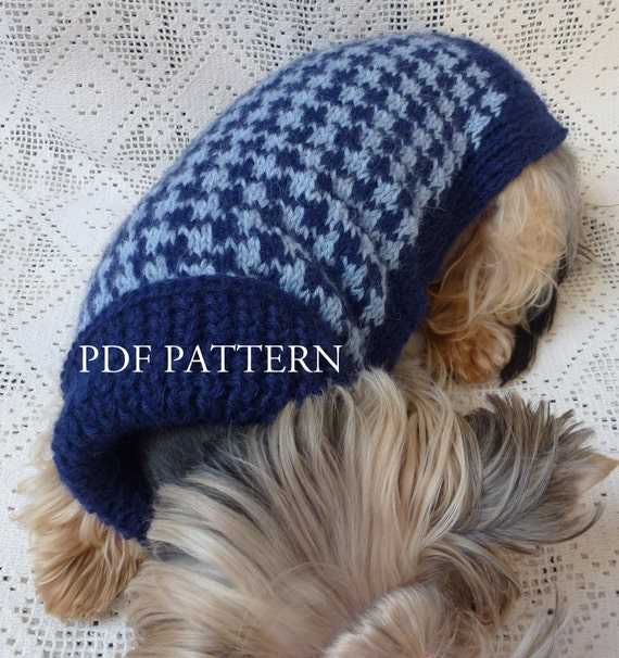 Dog Tooth Knitting Pattern : Turtleneck Dog Sweater in Hounds-tooth Pattern by ...