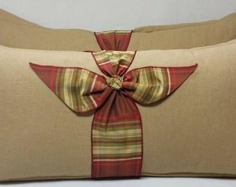 X-Large Oblong Tan Linen/Burlap Pillows, Set of 2