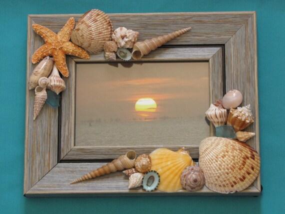 Seashell photo frame shell picture frame beach decor beach for Decorate your own picture frame craft