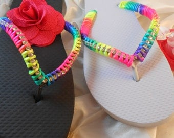 Havaianas Flip Flops Rainbow on Black or White 2017 Designer Unique Wedding Accessories Labor Day Gift sandals statement Fashion