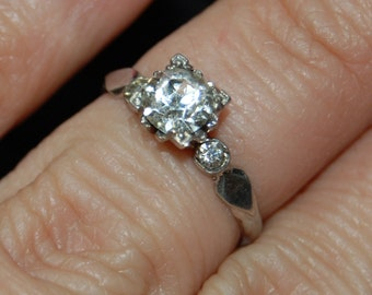 Vintage Round Stone 925 Mirror Back Rhinestone Paste Setting Sterling Engagement Wedding Solitaire Ring #BKC-RNG160