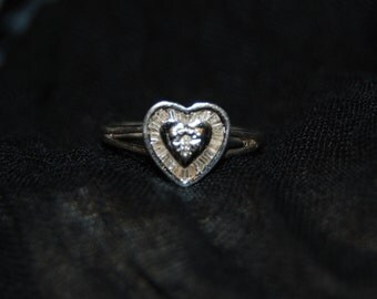 Vintage Victorian Edwardian Diamond Heart 925 Sterling Round and Baguette Anniversary Wedding Engagement Ring #BKC-RNG106