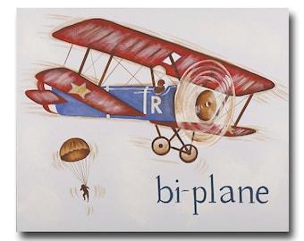 "16""x20"" hand painted bi-plane canvas - art for boys- transportation art-"