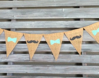 Mustaches and Bow Ties Burlap Banner, Mustaches and Bow Ties Banner, Mustaches and Bow Ties Banner, Boy Baby Shower Banner, Boy Birthday