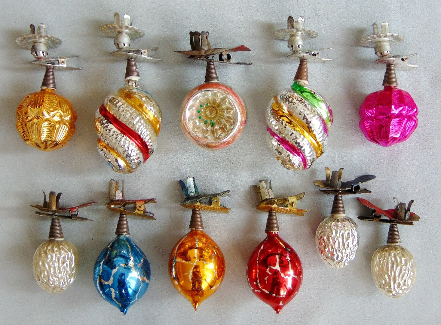 German antique vintage glass christmas tree ornaments candle