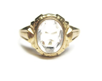 Antique 10K White Topaz Ring Size 5 Budlong Docherty & Armstrong