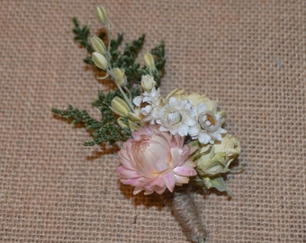 Wedding Boutonniere with Pink and Ivory dried flowers   - Custom Made to Order