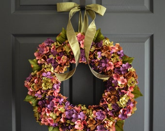 Summer Wreath | Blended Hydrangea Wreath | Front Door Wreaths | Wreaths for Door | Outdoor Wreaths | Housewarming Gift