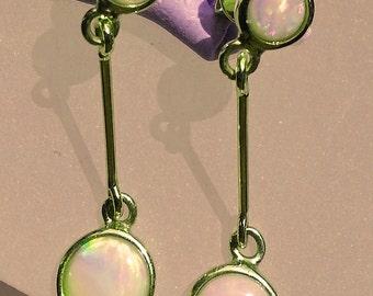 Lovely 9 carat yellow gold Australian solid Opal earrings