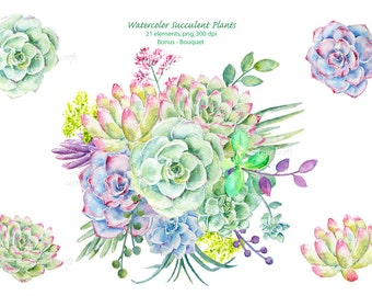 Watercolor clipart (1) - Hand painted watercolor succulent plants printable instant download wedding bouquet, wedding invitations