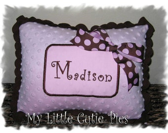 Brown and light pink personalized minky pillow