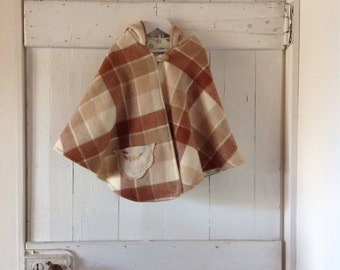 Children's Girls Woollen Winter Cape with Hood.Made to order.
