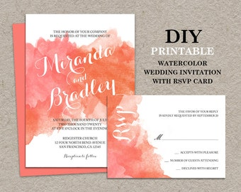 DIY Watercolor Wedding Invitation With RSVP Card, Printable Coral Peach Ombre Watercolour Invitations And Response Cards