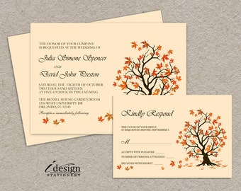DIY Fall Wedding Invitation With RSVP Card, Printable Falling Leaves Wedding  Invitations, Autumn Wedding